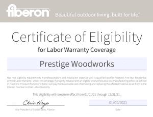 Prestige Woodworks, Edmonton, Alberta - Fiberon Certificate